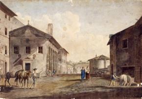 Giovanni Volpato, ALR Ducros, Veduta del Tempio della Fortuna Virile e del Tempio di Vesta, acquaforte acquerellata, 1780 (MR 195)