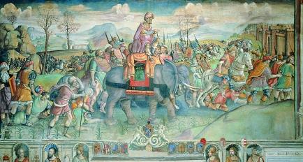 Jacopo Ripanda (attr.), Annibale in Italia, Affresco, Inizio XVI secolo