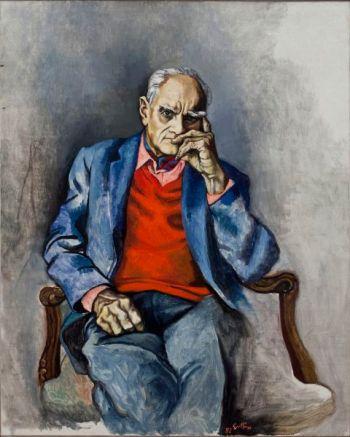 Renato Guttuso, Ritratto Moravia con maglione rosso, 1982
