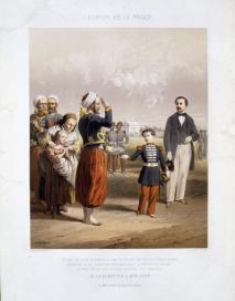 Jules David Anatole Bocquin Jean-Adolphe, Il principe imperiale Napoleone Eugenio riceve la petizione di uno zuavo, litografia colorata, 1865