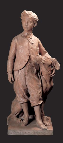Jean Baptiste Carpeaux, Napoleone Eugenio con il cane Nero, terracotta, post 1865