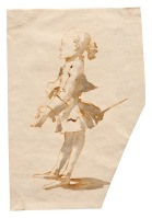 Giambattista Tiepolo Caricatura di gentiluomo con tricorno sotto il braccio e spadino penna e inchiostro bruno, inchiostro diluito bruno, mm 199x137 Trieste, Civico Museo Sartorio, inv. 2098