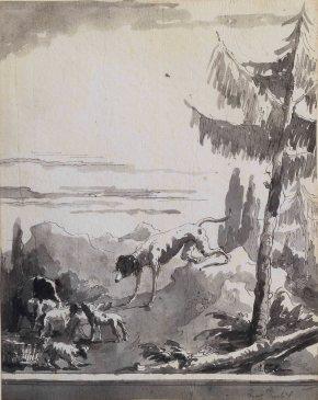 Giandomenico Tiepolo Famiglia di cani con cuccioli penna e inchiostro grigio, inchiostro diluito grigio, mm 240x190