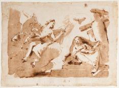 Giambattista Tiepolo Annunciazione penna e inchiostro bruno, inchiostro diluito bruno, tracce di grafite, mm 256x344 Firenze, Museo Stefano Bardini, inv. 850/1337