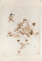 Giambattista Tiepolo Figure femminili e piccolo zefiro sulle nubi (per il soffitto del salone da ballo di palazzo Clerici a Milano) penna e inchiostro bruno, inchiostro diluito bruno, su traccia di grafite, mm 380x298 Firenze, Museo Horne, inv. 6319