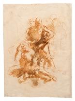 Giambattista Tiepolo Morte di Giacinto (studio per il dipinto con l'omonimo soggetto oggi al Museo Thyssen-Bornemisza di Madrid) penna e inchiostro bruno, inchiostro diluito bruno, pietra rossa, mm 337x242 Trieste, Civico Museo Sartorio, inv. 2106 r