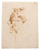 Giambattista Tiepolo Testa di orientale penna e inchiostro bruno, inchiostro diluito bruno, su traccia di grafite, mm 250x194 Trieste, Civico Museo Sartorio, inv. 1992