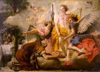 Giandomenico Tiepolo Abramo e i tre angeli olio su tela, cm 199x281 Venezia, Gallerie dell'Accademia, inv. 692