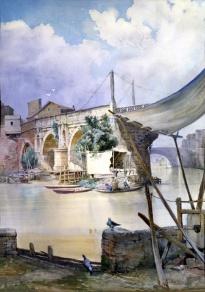 Ettore Roesler Franz, Baracche di pescatori Ponte Rotto, 1883