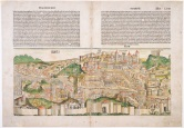 Michel Wolgemut (1434-1519), Wialhelm Pleydenwurff (1460-1494) Pianta di Roma a volo d'uccello 1493 Xilografia acquerellata Roma, Museo di Roma (inv. MR 16921)