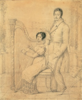 Charles de Chatillon (attivo tra il 1795 e il 1823 ca.) Zenaide e Carlo Luciano Bonaparte Disegno 1823