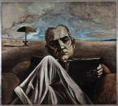 Sergio Vacchi, Ritratto di Moravia, 1969