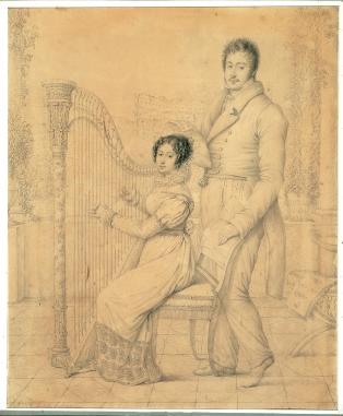 Carlo Luciano Bonaparte e Zenaide Bonaparte con un arpa - Museo Napoleonico