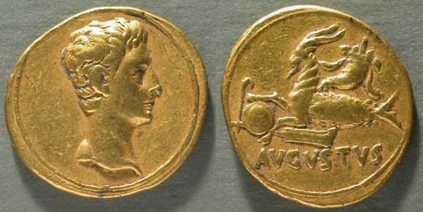 moneta_aureo_di_augusto_testa_di_augusto_e_capricorno