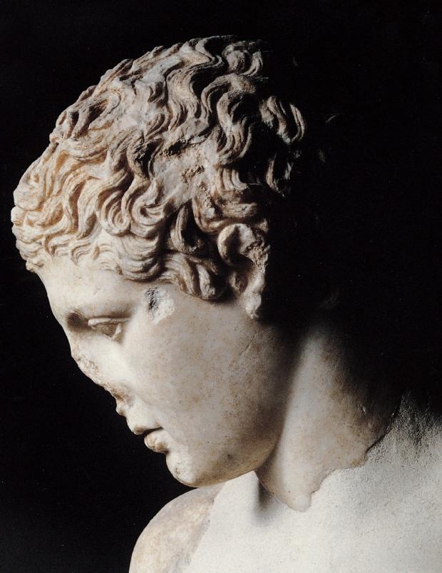 Discobolo tipo Antretender - testa ( da originale bronzeo di Naukydes, del V-IV sec. a.C.)