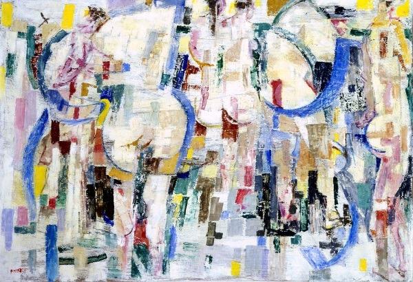 Fausto Pirandello, Bagnanti nella rifrazione, 1959, olio su cartone. Roma, Galleria d'Arte Moderna