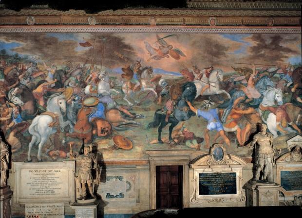 Battaglia presso il lago Regillo , Tommaso Laureti, Affresco, 1587-1594