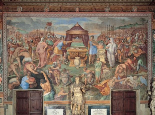 Muzio Scevola davanti a Porsenna, Tommaso Laureti Affresco, 1587-1594, Musei Capitolini, Appartamento dei Conservatori, Sala dei Capitani