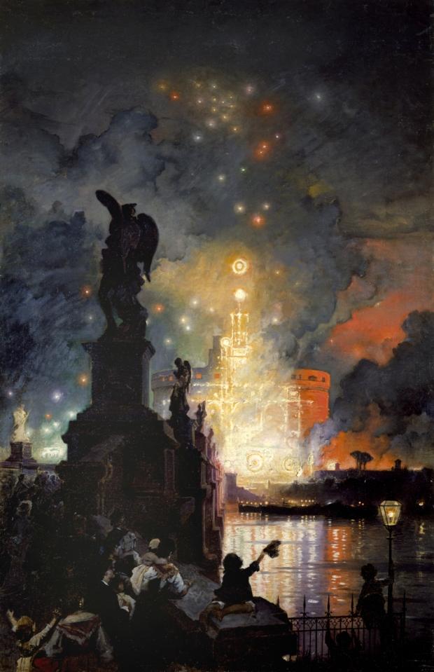La girandola a Castel Sant'Angelo, Theodor Aerni Franz , Acquerello, 1874-1880 Museo di Roma in Trastevere