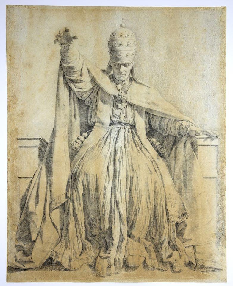Clemente XIV. Matita e acquerello grigio, carta bianca ingiallita. Venezia, Museo Correr, Gabinetto dei disegni e delle stampe